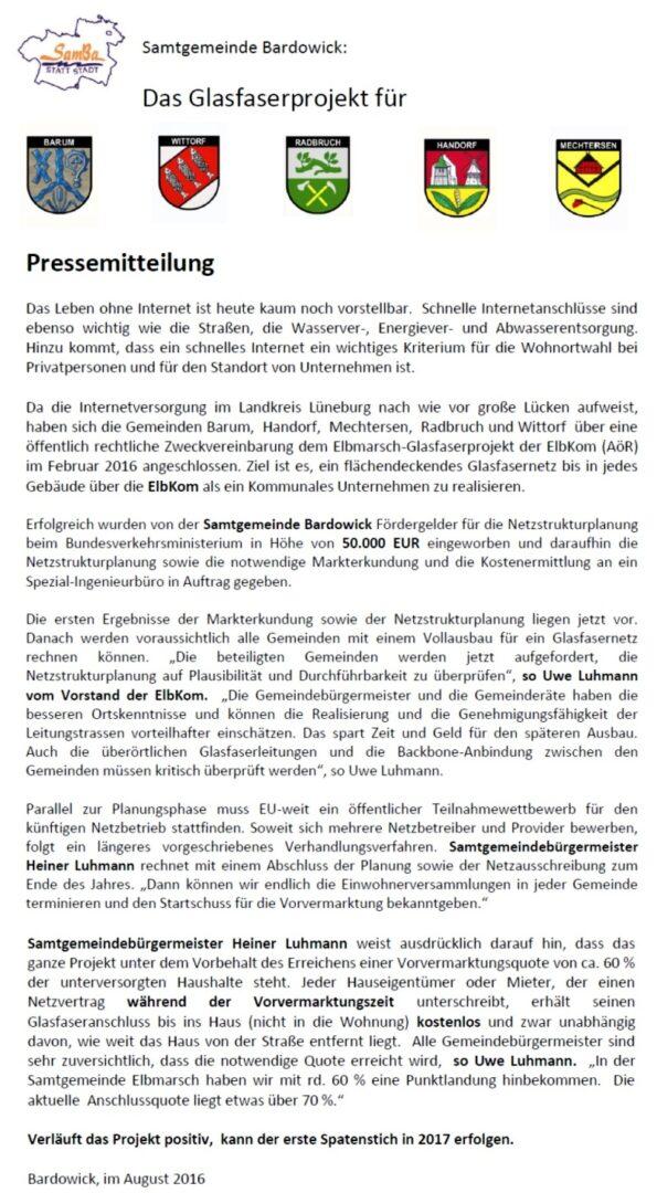 Pressemitteilung Glasfaserausbau