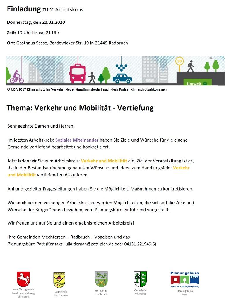 Einladungsplakat für den Arbeitskeis Verkehr und Mobilität