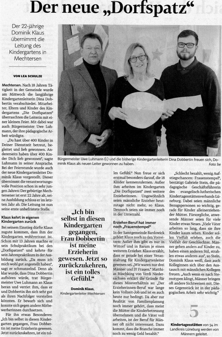 Zeitungsbericht Wechsel Kindergartenleitung