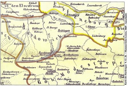 Alte Karte von Mechtersen