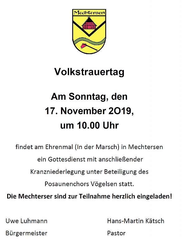 Einladung Volkstrauertag 2019